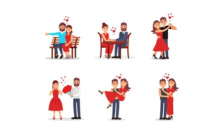 Couple Falling in Love With Each Other Vector Set. Romantic Dating Concept. Man Giving Woman Flower Bouquet, Man Carrying Woman in Hands, Couple Dancing Together Standard-Bild - 132854320
