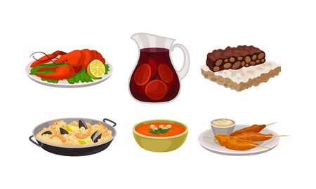 Various Dishes in Bowl and Plate and Beverage Poured in Glass Jar Vector Set. Delicious Seafood Meal Concept