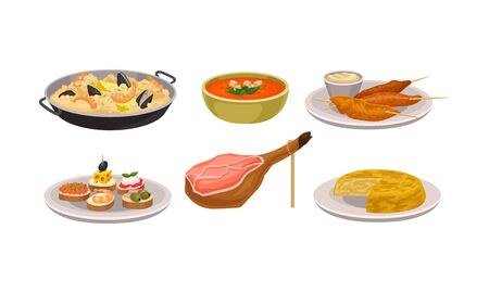 Various Dishes Served in Bowl and Plates Vector Set. Delicious Meal Concept