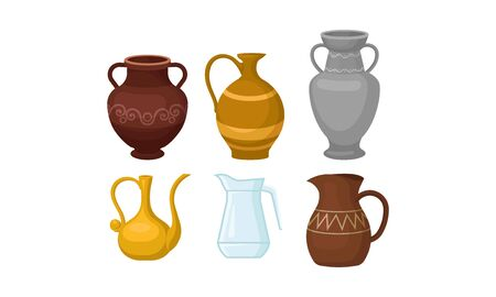 Ancient Greek Amphoric Vases Vector Isolated On White Background Set Stok Fotoğraf - 133046998