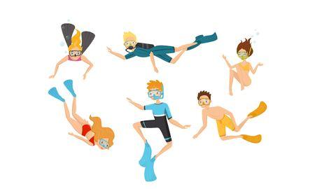 Personajes de personas Buceo Conjunto de ilustraciones vectoriales. Concepto de hundimiento profundo. Hombre y mujer nadando bajo el agua con Swimfin y snorkel
