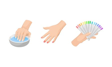 Nail Care Vector Set. Different Stages of Nail Art Depicted With Hands. Fingernail Fashion Concept