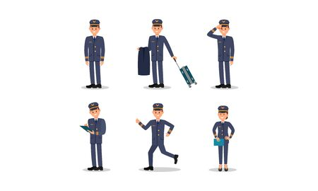 Aircraft Captain in Uniform Vector illustration Set. Man Pilot Carrying Luggage, Wearing a Uniform, Hurrying Up and Checking Something Before Setting Off 向量圖像
