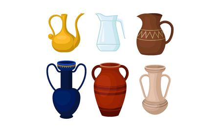 Vases amphoriques grecs antiques vecteur isolé sur fond blanc Vecteurs