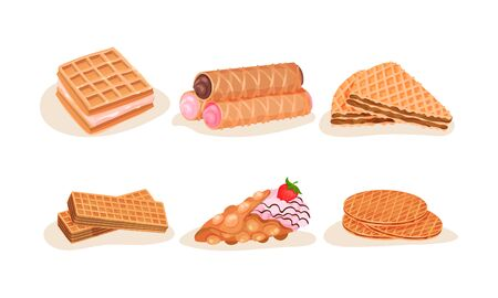 Different Waffles and Wafers Desserts Vector Illustrated Set Иллюстрация