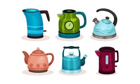 Various Kettles Vector Illustrated Set. Kitchenware Collection
