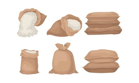 Burlap Sacks With Rice or Flour Vector Set. Agricultural Product Poured in Bag Concept Çizim