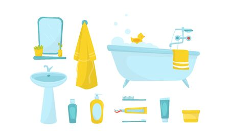 Different Bathroom Objects Isolated On White Background Vector Set. Bath Facilities Elements Concept