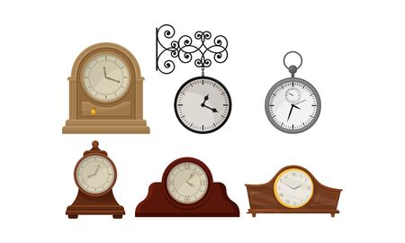 Different Clocks Vector Isolated On White Background Set