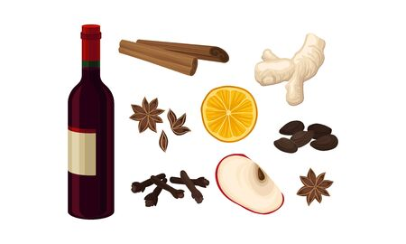 Mulled Wine Ingredients Vector Set Isolated On White Background