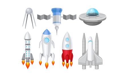 Spacecraft Vector Illustrated Set. Futuristic Spaceship Objects