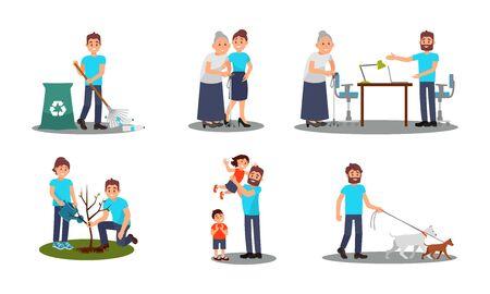 People Characters Working as Volunteers Vector Illustrations Set Vetores