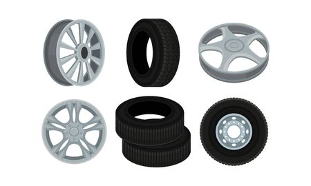 Tyres and Disks for Wheels Vector Set