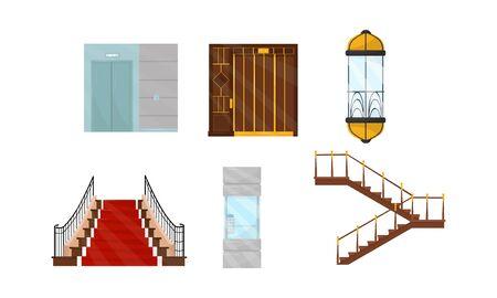 Ascenseurs et escaliers dans différents styles Vector Illustrated Set
