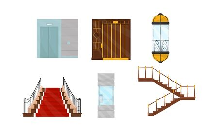 Elevators and Stairs in Different Styles Vector Illustrated Set