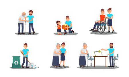 People Characters Working as Volunteers Vector Illustrations Set