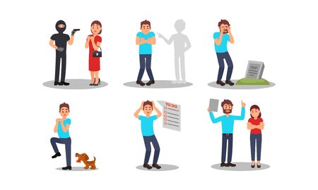 People Having Different Fears Vector Illustrations Set
