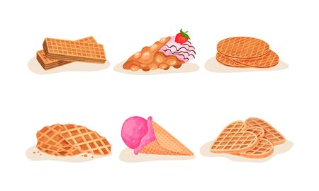 Different Waffles and Wafers Desserts Vector Illustrated Set Vectores