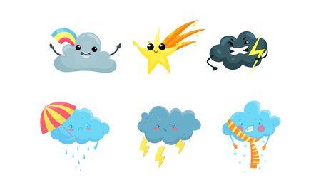Pronóstico del tiempo de dibujos animados. Meteorología niños vocabulario conjunto de vectores. Colección Educativa Diferente Clima