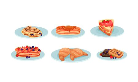 Different Types of Desserts Served on Plates Vector Set. Various Meals Collection