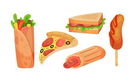 Junk Food Items Vector Set. Unhealthy Fat Fast Food Collection. Street Cafe Nutrition Concept