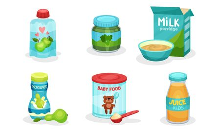 Organic Food For Babies Vector Isolated Set. Juices and Purees From Broccoli