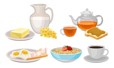 Delicious Breakfast Meal Vector Items Isolated On White Background Ilustração