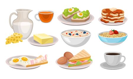 Delicious Breakfast Meal Vector Items Isolated On White Background. Healthy Morning Meal