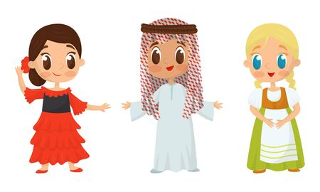 Big Eyed Kids Characters Wearing Traditional Costumes Vector Set