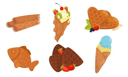 Colorful Sweet Dessert and Pastry Vector Set. Food Collection For Sweet Tooth Concept