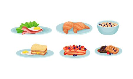 Different Types of Food and Snacks Served on Plates Vector Set. Various Meals Collection Ilustracja