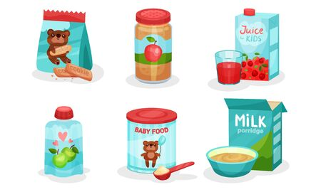 Organic Food For Babies Vector Isolated Set. Juices and Purees From Apple
