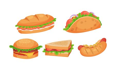 Junk Food Items Vector Set. Unhealthy Fat Fast Food Collection