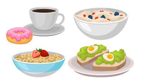 Deliciosos elementos de vector de comida de desayuno aislados sobre fondo blanco