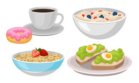 Delicious Breakfast Meal Vector Items Isolated On White Background