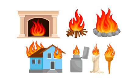 Set of different types of bonfires and fires. Vector illustration on a white background. Ilustrace