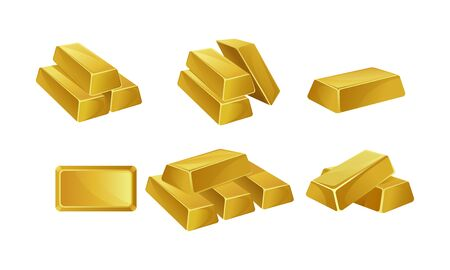 Set of gold bars. Vector illustration on a white background.