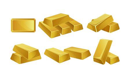 Set of images of gold bars. Vector illustration. Illusztráció