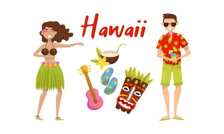 Set of different hawaii symbols. Vector illustration. Standard-Bild - 133048143