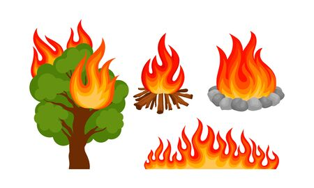 Set of different types of fires. Vector illustration on a white background.