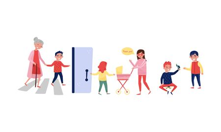 Children help adults cross the road and hold the door. Vector illustration.