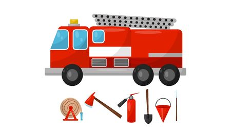 Fire truck and tools. Vector illustration on a white background. Foto de archivo - 133048149