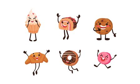 Set of humanized pastries and baked sweets. Vector illustration.