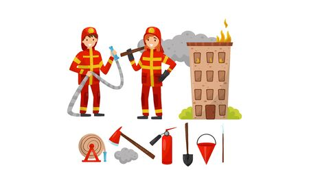 Firefighters in helmets and a red uniform, an ax, a hose, a bucket, a shovel, a fire extinguisher and a burning house. Vector illustration. Foto de archivo - 132971755