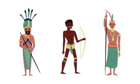 Aboriginal men with traditional weapons. Vector illustration on a white background. Çizim