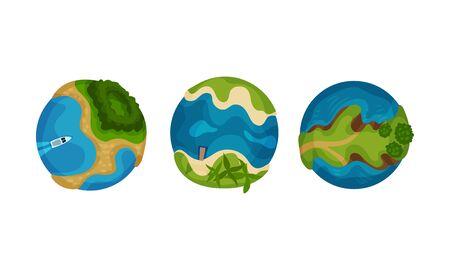 Set of globes. Vector illustration on a white background.