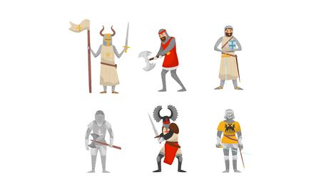 Set of medieval knights in armor and with weapons. Vector illustration on a white background. Vettoriali