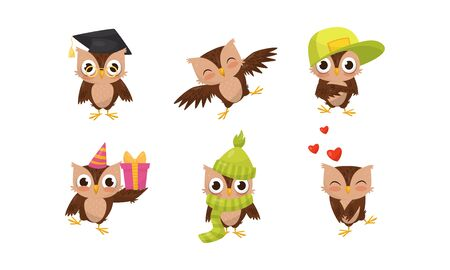 Set of humanized owls in a scientist hat, cap, scarf, with a gift. Vector illustration on a white background.