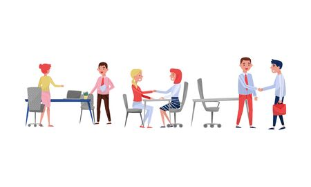 Men and women in the office greet each other. Vector illustration on a white background. Illustration