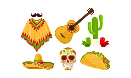 Mexico symbol set. Vector illustration on a white background.